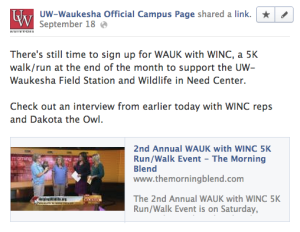 Screenshot of content sharing on Facebook from UW-Waukesha page